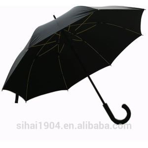 Men's Business High Quality 23''x8 Panels Manual Open Print Promotion Black Straight Stick Umbrellas with Special Yellow Fiberglass Frame