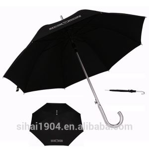 Direct Manufacturer ODM Available New Design Auto Open Black Pongee Fabric Straight Rain Umbrellas with Aluminum Shaft