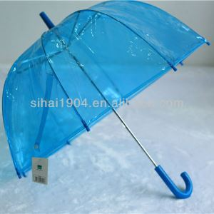 Hot Sale Custom Logo High Quality Transparent Plastic PVC/POE Dome Shape Clear Kids Straight Umbrellas