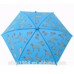 UV Protection Animal Dog Cartoon Printing Straight Change Color Magic When Rain Wet Umbrellas for Kids Parasol