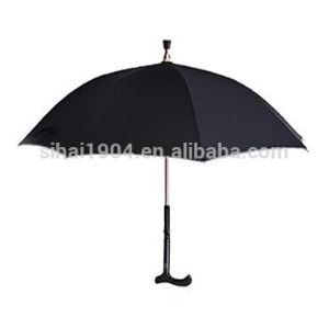 Promotion Gift Rain Windproof Man's Straight Black Fabric Adjustable Walking Stick Umbrellas for Elderly