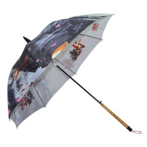 Chinese Style Stick Automatic Full Body Custom Print Umbrellas