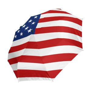 American Flag Stars Stripes Auto Open Folding Compact Umbrella