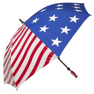 Auto Open Windproof Straight Umbrella With USA Flag Canopy