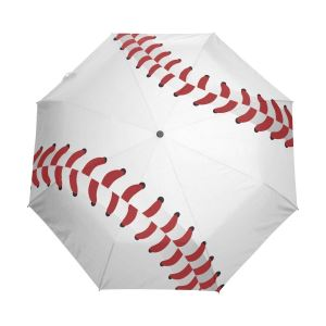 Baseball Close Up Auto Open Close Foldable Windproof Travel Umbrella Kids