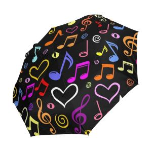 Colorful Music Note And Hearts Automatic Open & Closed Windproof Folding Umbrellas