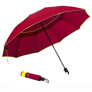 Compact Folding Golf Umbrella With 63 Inch Windproof Double Canopy For Family Outdoor Use, 4-Fold Rod, Manual Open And Close