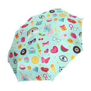 Happy Colorful Emoji Auto Open Close Windproof Sun Rain Golf Umbrella