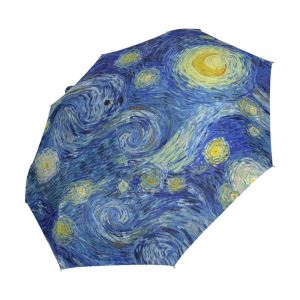 Oil Painting Starry Night Galaxy 3 Folds Auto Open Close Umbrella