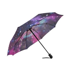 Space Nebula Galaxy Universe Windproof Compact Auto Folding Umbrella