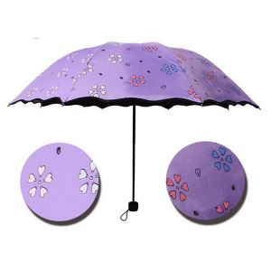 Travel Umbrella Parasol Magic Water Activated Color Change Flower Kids Umbrella