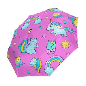 Unicorn Mermaid Star Auto Open Compact Portable Travel Umbrella