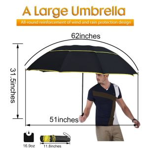 Wind Resistant Double Canopy Paraguas Alloy Skeleton Umbrella