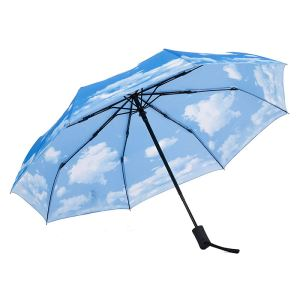 Windproof Automatic Folding Umbrella With Full Sky Printing Pattern